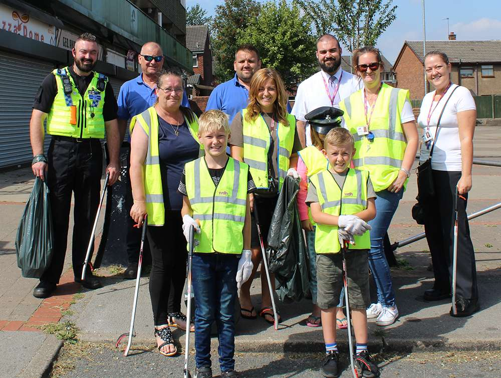 Tenants helping to clean up their local area